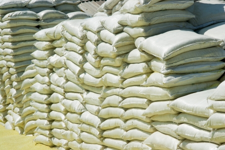 Stacks Of Chemical Sacks In Warehouse Outdoors Stock Photo