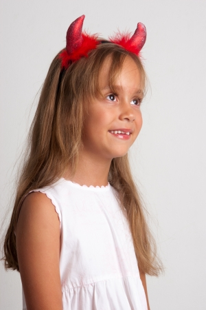 Pretty Little Girl A On White Background, Isolated photo