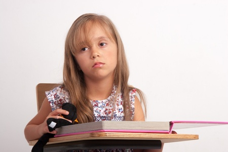 Girl Frustrated, Upset Girl, With Learning Problem photo