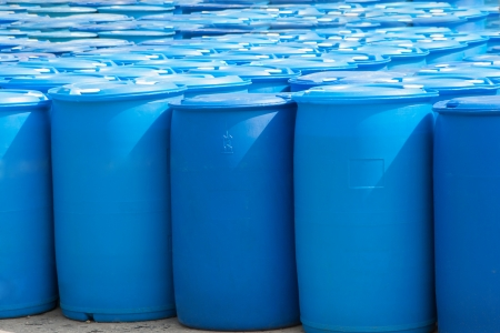 Chemical Plant, Plastic Storage Drums, Blue Barrels Stock Photo