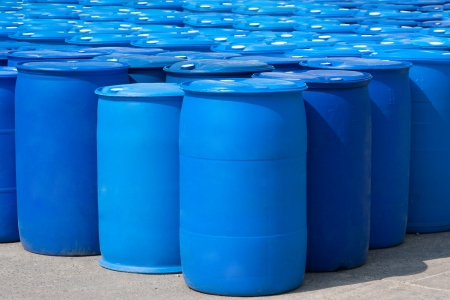 oil barrel: Chemical Plant, Plastic Storage Drums, Blue Barrels Stock Photo