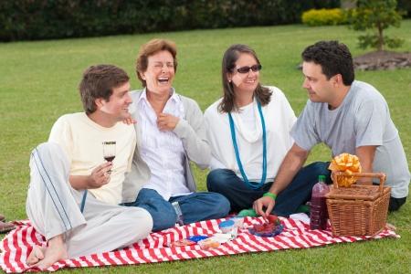 Caucasian Family Of Four Having Picnic In Park photo