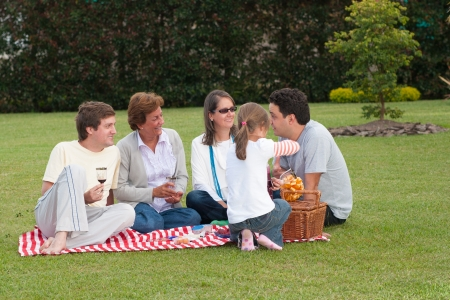 Caucasian Family Of Four Having Picnic In Park photo