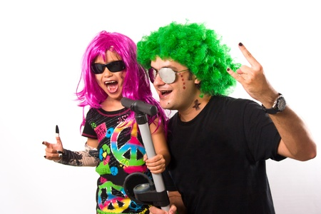 Portrait of Rock Star Father And Girl Singing photo