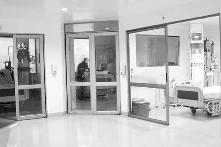Corridor interior inside a modern hospital, clean and tidy