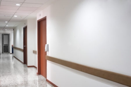 Corridor interior inside a modern hospital, clean and tidy photo