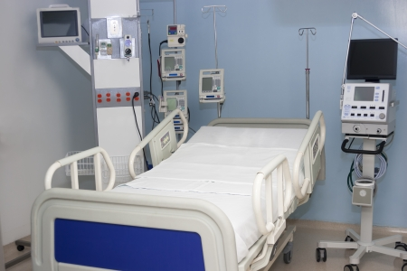 Equiped hospital room interior inside a modern and comfortable hospital photo