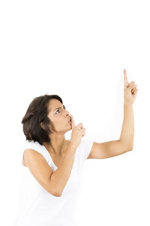 przypominać: Kobieta Milczenie Gesturing Cichy, Remind You Keep It Down Zdjęcie Seryjne