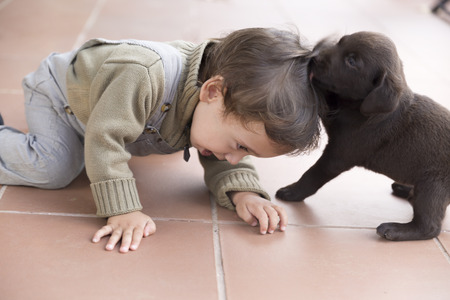 Portrait of Adorable Baby And His Dog At Home