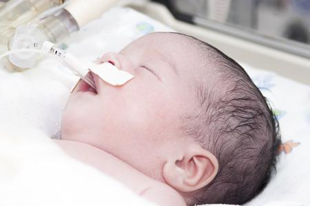 Retrato de un bebé recién nacido durmiendo dentro de incubadora