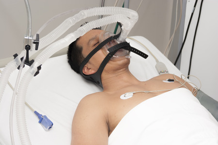 receives: Patient receives anaesthetic in hospital Stock Photo