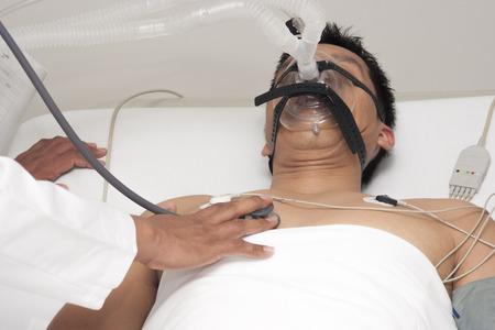 receives: Portrait of patient Receives artificial ventilation in hospital