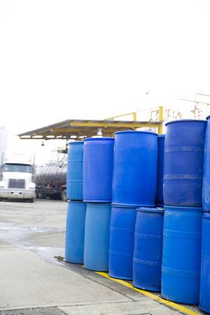 Chemical Plant, Plastic Storage Drums, Big Blue Barrels photo