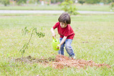 rainless: Portrait of Lovely Boy Watering Plants Outdoors