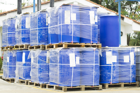 Chemical Plant, Plastic Storage Drums, Big Blue Barrels Reklamní fotografie