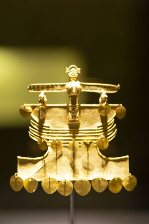 Golden indigenous ornament from South America natives (the Museo del Oro, Bogotá, Colombia)