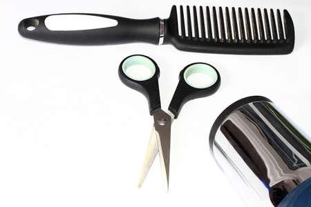 Woman hair styling tool's on white background stock photo 版權商用圖片