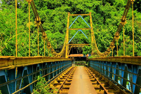 suspension: Suspension bridge in Gerung Lombok Island