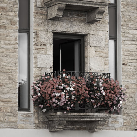 window and flowered balcony. Archivio Fotografico