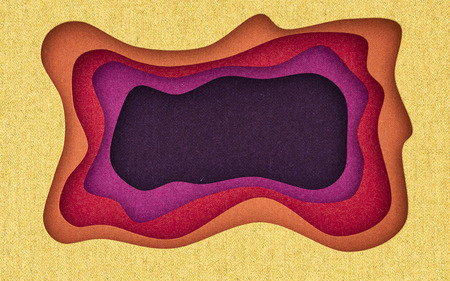 Fabric texture cut abstract background with flowing liquid  cut shapes. 3d rendering.
