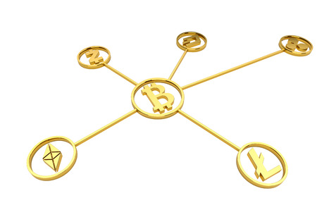 Golden cryptocurrency symbols on white background no shadow Stock Photo
