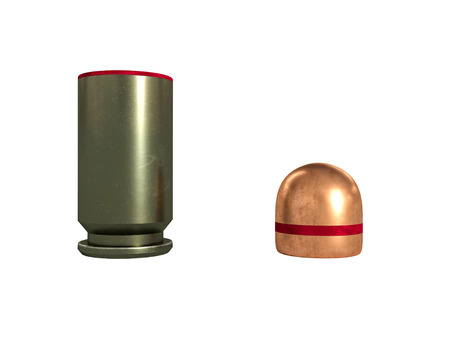 pistol cartridge 9x19 mm, Russian and Soviet army, isolated,3d illustration Stock Photo