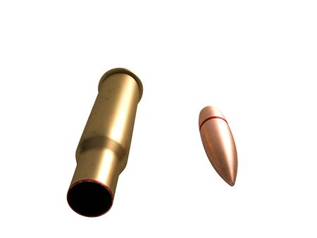 bullet and cartridge 7.62x54R Russian and Soviet army, isolated. 3d rendering 写真素材