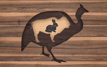 cut-out wood animals. 3D rendering