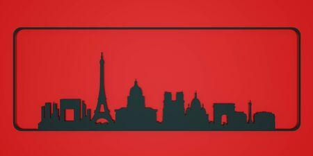 Skyline city paper cut Paris. 3D rendering