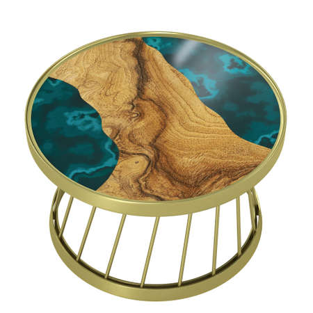 round table made of slab of wood and epoxy resin art. 3D rendering Stock fotó