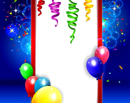 birthday background with colorful balloons of illustration Ilustrace