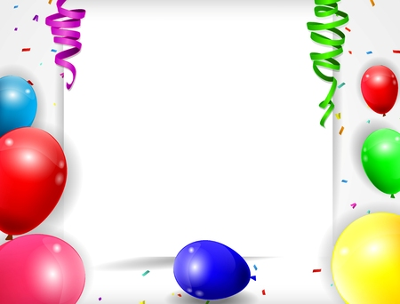 birthday background with colorful balloons of illustration Vettoriali