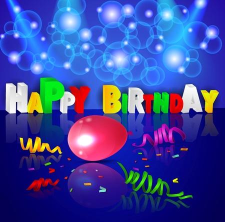 Fondo de cumpleaños con globos de colores de la ilustración Foto de archivo - 41791072