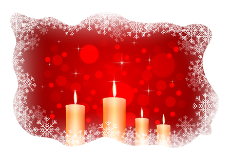 flame: isolated burning candles on dark red background Illustration