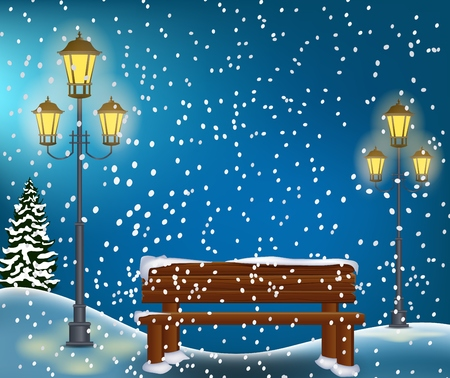 winter forest: Winter Forest Landscape Christmas Background Illustration