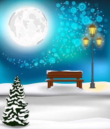 christmas winter: Winter Forest Landscape Christmas Background Illustration
