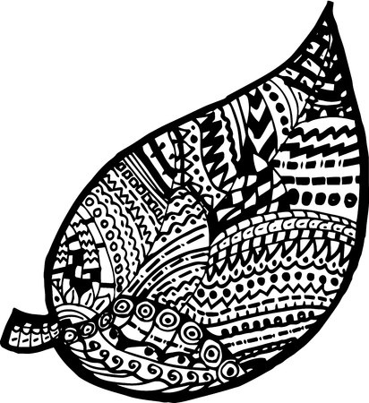 water weed: Decorative seamless black and white pattern with leaves Illustration