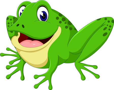 croaking: Cartoon cute frog of illustration Illustration