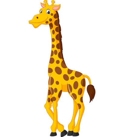 Cute giraffe cartoon of illustration Vettoriali