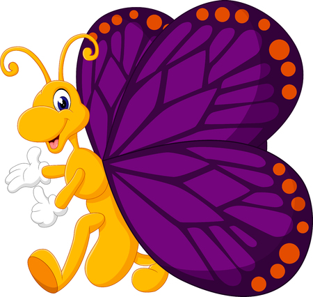 hand butterfly: Cute butterfly cartoon of illustration