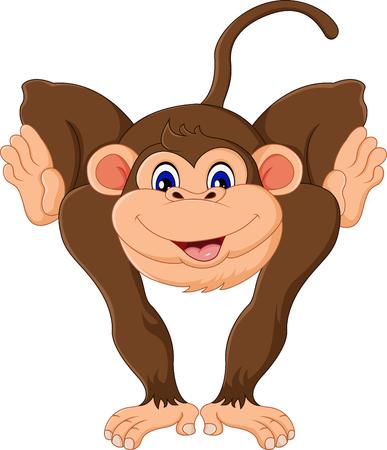 귀여운 만화 원숭이 일러스트