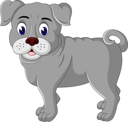 raging: cute  bulldog cartoon Illustration