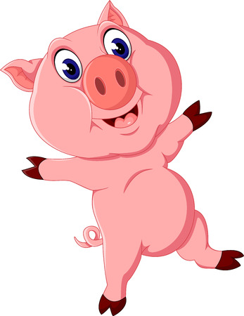 babyish: Cute pig cartoon posing