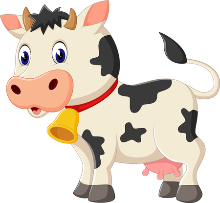 happy farmer: illustration of Cute cow cartoon