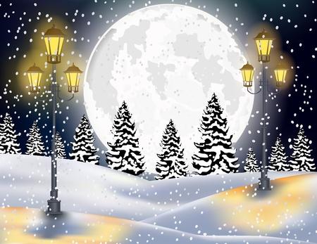 Winter Forest Landschap Achtergrond van Kerstmis Stockfoto - 49058236