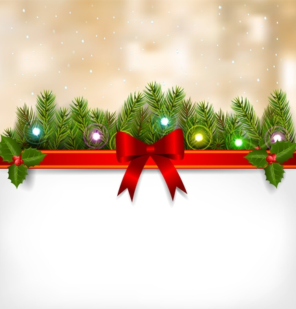 twigs: Christmas background with fir twigs and red balls