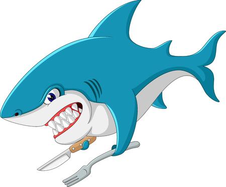 shark fin: cute Shark cartoon of illustration