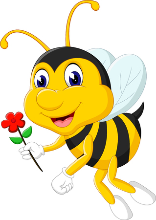 bee on white flower: cute Bee cartoon flying of illustration Stock Photo