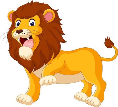 smile cartoon: Cute lion cartoon of illustration Stock Photo