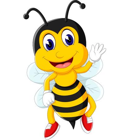 abejas: Abeja volando de dibujos animados Foto de archivo